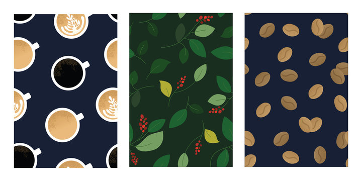Set of seamless patterns with cup of cappuccino, espresso, coffee beans and branch of plant. Backgrounds for specialty coffee house, shop or package. Vector illustrations for textile, flyer, wrapping.