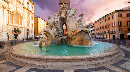 Wall Mural - Fountain of the Four Rivers (Fontana dei Quattro Fiumi) on the Piazza Navona, Rome. Italy