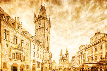 Wall Mural - Old Town Hall located in Old Town Square. Prague, Czech Republic. Retro style.