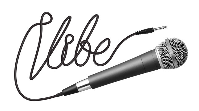 Vibe word made from cable and microphone