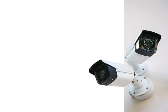 CCTV security cameras isolated on white background with clipping path.