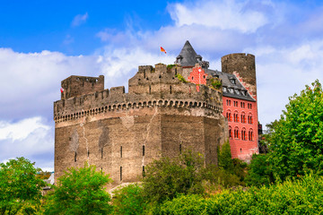 Medieval castles of famous Rhine river valley. Germany. Castle Schoenburg in Oberwesel