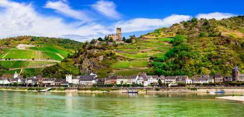 Rhine river cruises, Kaub town and medieval castle Gutenfels. Germany ,travel and landmarks