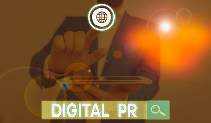 Word writing text Digital Pr. Business photo showcasing marketing strategy used to increase their...