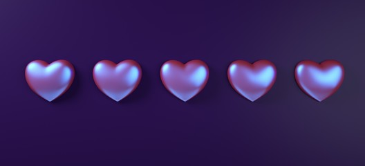 Valentines day hearts background pattern 3d rendering illustration. Purple neon holographic flat lay.