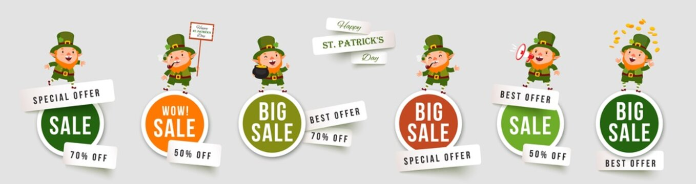 Saint Patricks Day sale isolated stickers with leprechauns. Set of paper cut vector banners with funny traditional characters. Collection of elements for holiday promotions and discounts