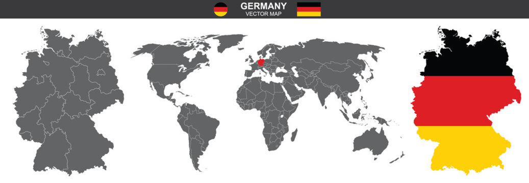 set of vector maps of Germany on white background