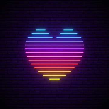 Bright vector neon heart. Rainbow lines in a heart form isolated on the dark brick wall with backlight. Design element for Happy Valentine's Day in 80s style.