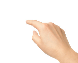 Hand touching finger on a white background