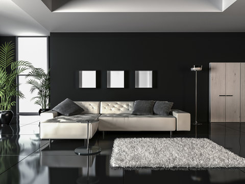 Showcase interior design in minimalist style, 3D render