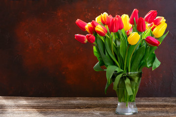 Spoed Foto op Canvas Tulp red and yellow tulips