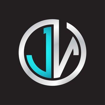 JV Initial logo linked circle monogram