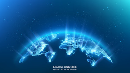 Map of the planet. Rays of energy.  World map. Global social network. Future. Vector. Blue futuristic background with planet Earth. Internet and technology. Floating blue plexus geometric background. Fotomurales