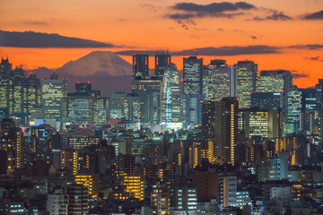 Fotomurales - Top view of Tokyo city skyline (Shinjuku and Shibuya) area with beautiful sunset