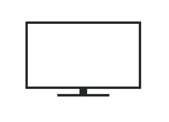 Computer display icon, black blank pc screen. Empty Led tv wide hd lcd monitor. Vector illustration image. Isolated on white background.