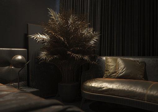 Illustration of a black room with a polygonal mesh. Dark room