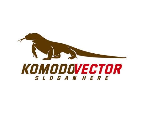 Komodo dragon logo design template. Graphic animal illustration.
