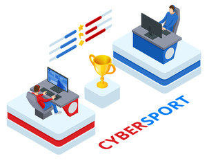 Isometric Cybersport or Electronic Sports, E-sports, or eSports, sports competition using video games. Organized multiplayer video game competitions.