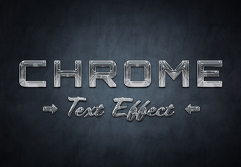 Chrome Metal Text Effect Mockup