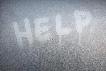 Garden Poster Smoke Inscription on the sweaty glass word help.