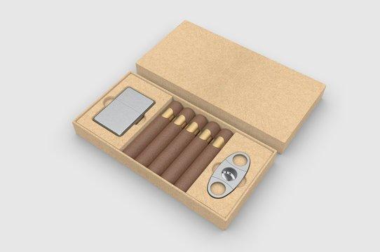 Blank cigars, lighter and cigar cutter in hard paper box template for mock up, 3d render illustration.