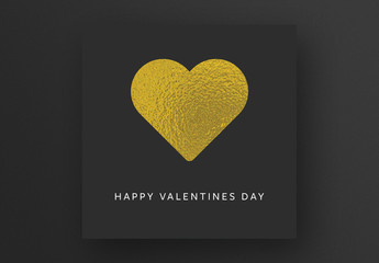 Valentine's Day Card Layout with Gold Heart Image
