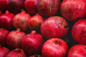 street market of assortment of fresh fruits and vegetables.Healthy food.Organic. farming. pomegranate