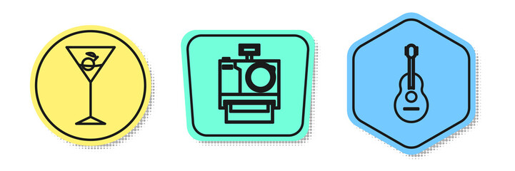 Set line Martini glass , Photo camera and Guitar . Colored shapes. Vector