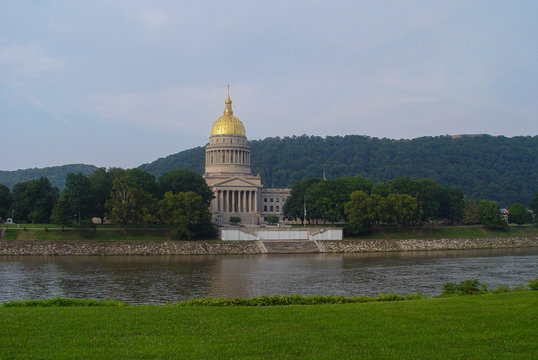 Capitol building of WV and  the Kanawha river.
