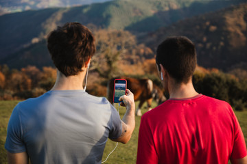 Back view of sportive males standing on top of green hill taking picture with mobile phone of a cow on pasture while enjoying landscape relaxing after running in mountains