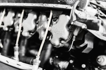 PRIBRAM, CZ - SEPTEMBER 13, 2017. Detail of a Continental aircraft engine. Disassembled aircraft engine Continental.