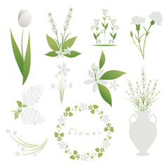 Set of white flowers, decorative bouquets, garlands and vessels, isolated on white background