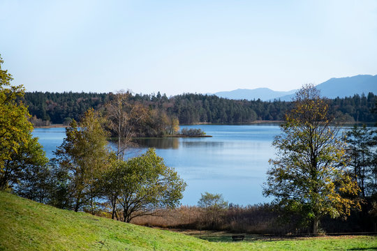 Germany, Bavaria, Grosser Ostersee lake surrounded by forest