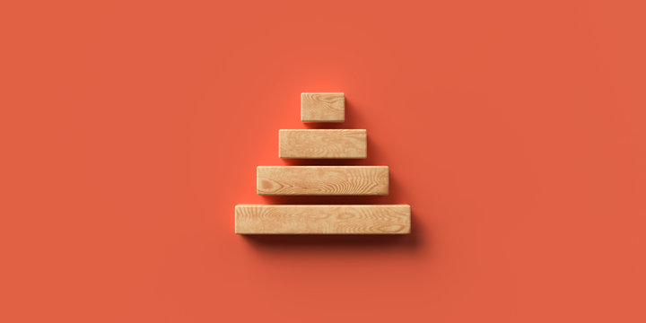 blocks formed as a pyramid on colorful background symbolizing a hierarchy