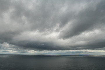 Atlantic ocean water and dramatic cloudy sky background. Sea water texture closeup. Landscape photography