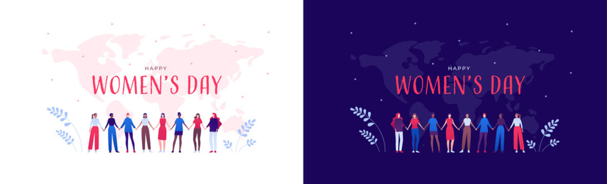 Happy women day feminist card concept. Vector flat person modern illustration set. Group of various ethnic woman holding hands in row on world map background. Design for international holiday banner.