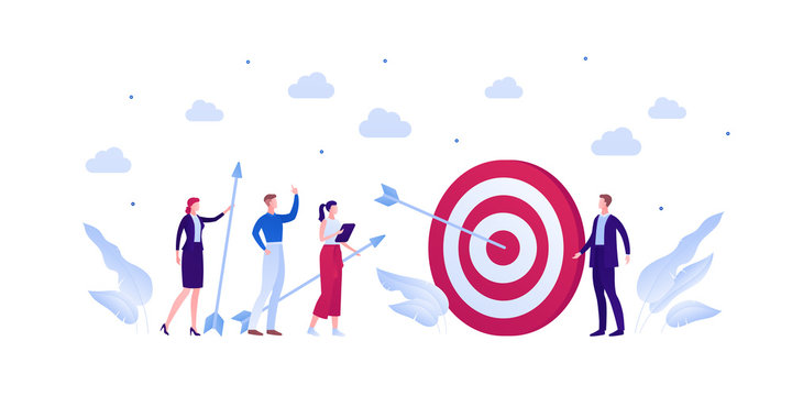 Business teamwork success concept. Vector flat person illustration. Group of businessman and woman in suit hit target with arrow isolated on white. Design element for banner, background, infographic.