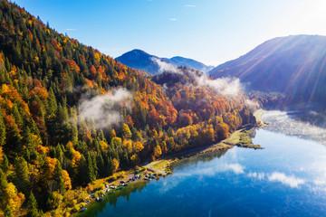 Germany, Bavaria, Lenggries, Sylvenstein Reservoir in autumn