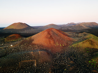 Volcanic landscape, Timanfaya, Lanzarote, Canary Islands. Aerial view