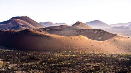 Volcanic landscape at Timanfaya National Park, Lanzarote, Spain, Europe