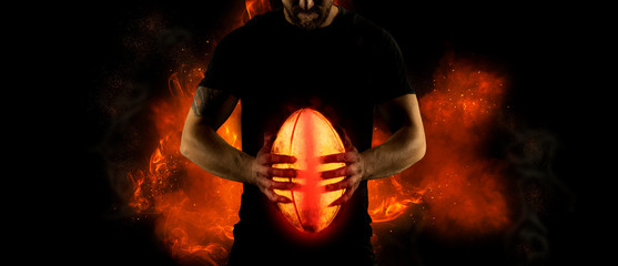 Rugby football player. Sports banner