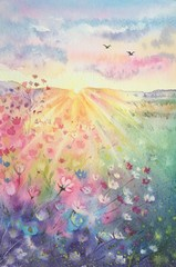 Foto auf Acrylglas Beige Watercolor beautiful rural landscape with sunrise and blossoming meadow. Purple, white flowers flowering on spring field. Happy new day concept. Vertical view, copy-space. Template for designs , card.