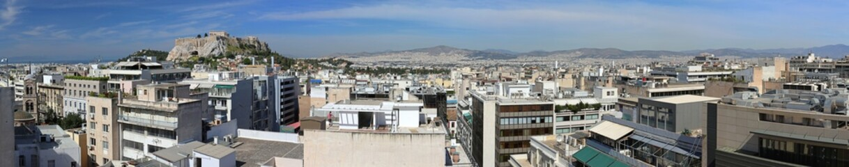 Long Panorama of Athens Greece Sunny Day