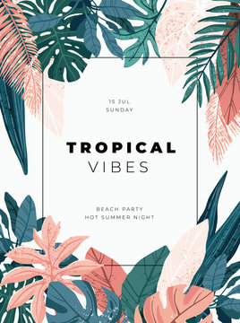 Bright and trandy summer hawaiian banner, party flyer or invitation design with tropical plants and palm leaves. Vector illustration.