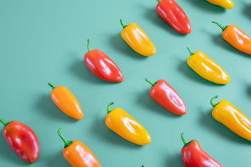 Canvas Prints Hot chili peppers red and orange color mini bell pepper