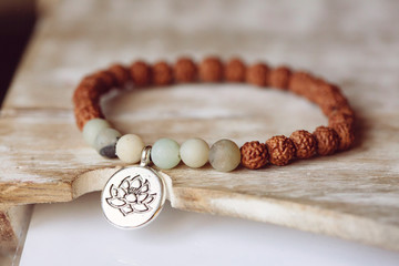 lotus silver metal pendant bracelet with natural amazonite mineral stone and rudraksha Indian seed