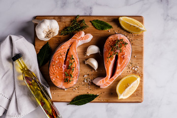 Aluminium Prints Grill / Barbecue Healthy Food - Atlantic salmon steak with ingredients