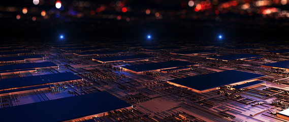 Printed circuit board futuristic server/Abstract background circuit board futuristic server. Can be used as digital dynamic wallpaper, technology background. 3d rendering Wall mural