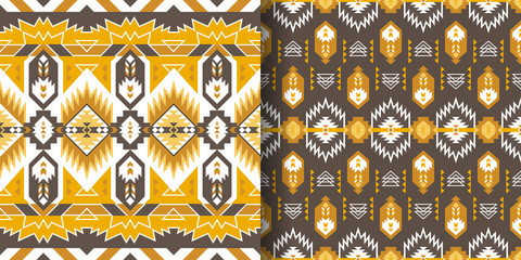 Deurstickers Boho Stijl Set of Aztec geometric seamless patterns. Native American Southwest prints. Ethnic design wallpaper, fabric, cover, textile, rug, blanket.
