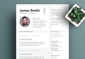Resume Layout with Minimalistic Design and Grey Accents